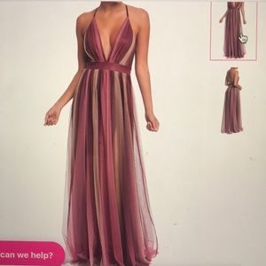 Maroon Striped Maxi Dress